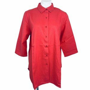 Jessica London Coral Linen/rayon Sleeves 3/4 Women